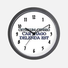 """Ceterum Censeo: Carthago"" Wall Clock"