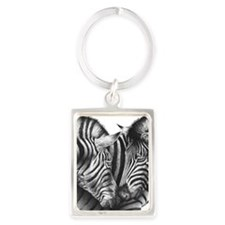 Zebras Hexagon Ornament Portrait Keychain