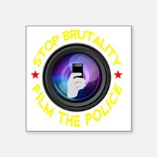 "Film The Police Black Square Sticker 3"" x 3"""