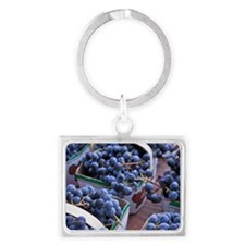 Baskets of concord grapes displ Landscape Keychain