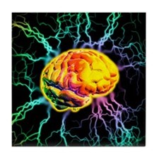 Brain activity Tile Coaster