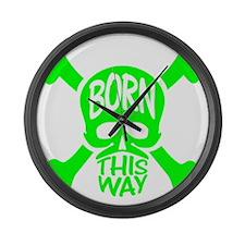 Green Born This Way Skull & Cross Large Wall Clock