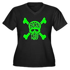 Green Born T Women's Plus Size Dark V-Neck T-Shirt