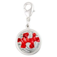 Brain function, conceptual Silver Round Charm
