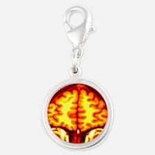 Brain, MRI scan Silver Round Charm