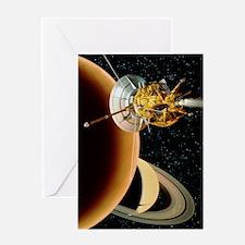 Cassini spacecraft near Titan Greeting Card