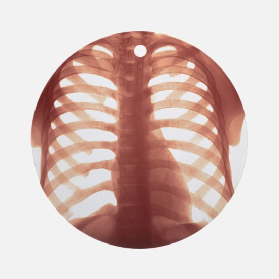 Chest X-ray of a healhty human hear Round Ornament
