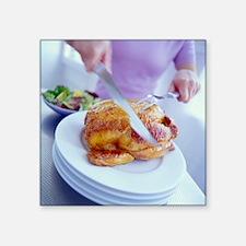 "Carving roast chicken Square Sticker 3"" x 3"""