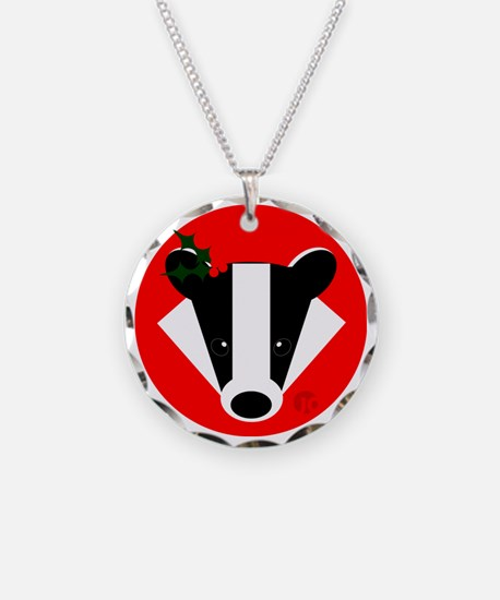 Christmas Badger Face Necklace