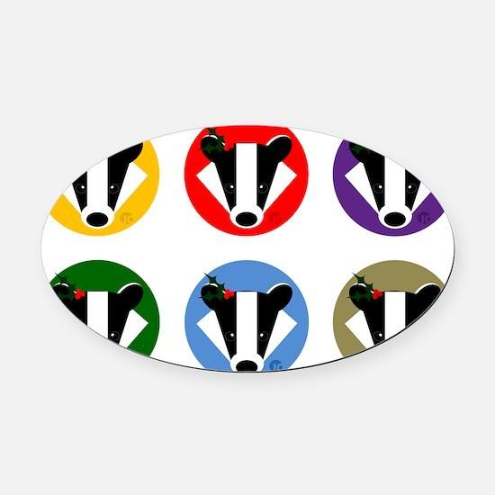 Christmas Badger Face Oval Car Magnet