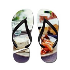Cheese and ham meal Flip Flops