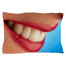 Close-up of a woman's mouth showing he Pillow Case