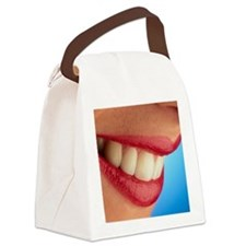 Close-up of a woman's mouth showi Canvas Lunch Bag