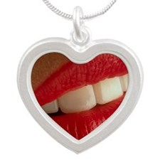 Close-up of a woman's mouth  Silver Heart Necklace