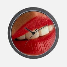 Close-up of a woman's mouth showing hea Wall Clock