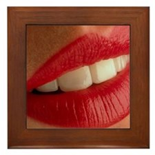 Close-up of a woman's mouth showing he Framed Tile