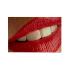 Close-up of a woman's mouth showi Rectangle Magnet