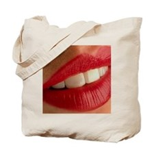 Close-up of a woman's mouth showing healt Tote Bag