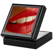 Close-up of a woman's mouth showing h Keepsake Box