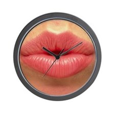 Close-up of the pink lips of a woman (f Wall Clock