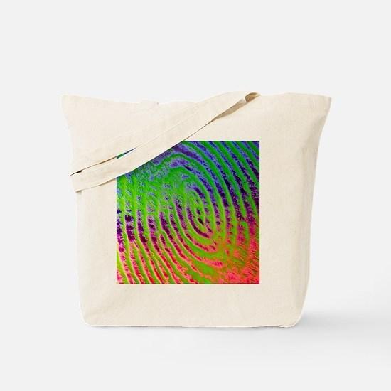 Coloured SEM of details of a human finger Tote Bag
