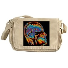 Coloured CT scan of the brain in hea Messenger Bag