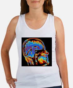 Coloured CT scan of the brain in  Women's Tank Top