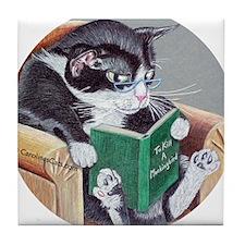 Reading Cat Tile Coaster