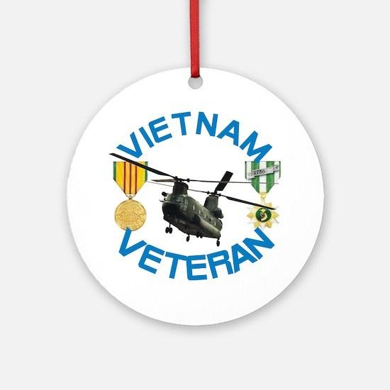 Chinook Vietnam Veteran Round Ornament