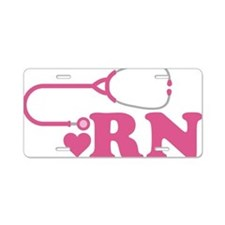 Heart RN Stethoscope Aluminum License Plate