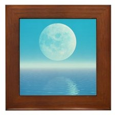 Computer art of Moon over water (tidal Framed Tile