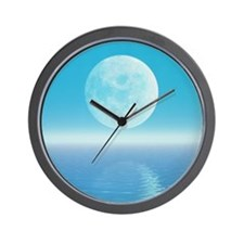 Computer art of Moon over water (tidal  Wall Clock