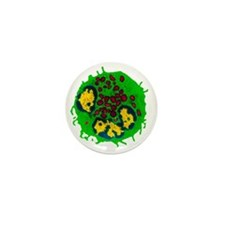 Coloured TEM of a basophil white blood Mini Button