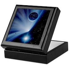 Comet or asteroid approaching Earth Keepsake Box