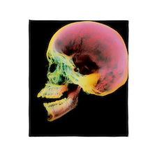 Coloured X-ray of a human skull seen Throw Blanket