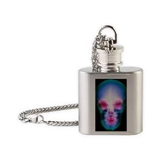 Coloured X-ray of the human skull Flask Necklace