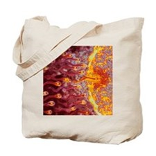 Computer art of sperm and egg during fert Tote Bag