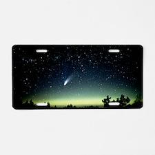 Comet Hale-Bopp and aurora  Aluminum License Plate