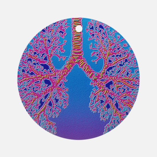 Computer art of human lung trachea Round Ornament