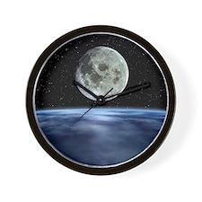 Computer artwork of full Moon over Eart Wall Clock