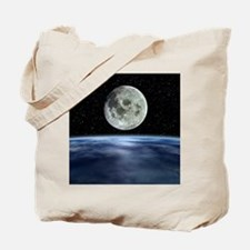 Computer artwork of full Moon over Earth' Tote Bag
