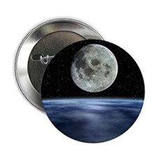"Computer artwork of full Moon over Ea 2.25"" Button"