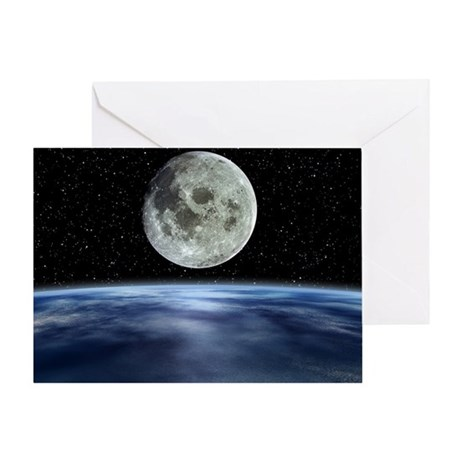 Computer artwork of full Moon over E Greeting Card