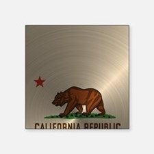 "Gold California Republic Square Sticker 3"" x 3"""