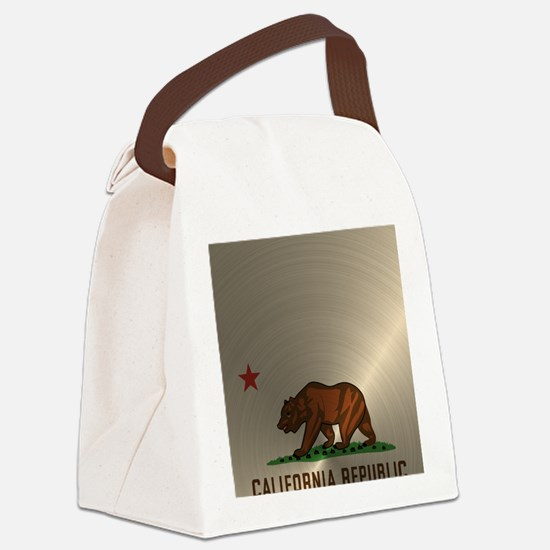 Gold California Republic Canvas Lunch Bag