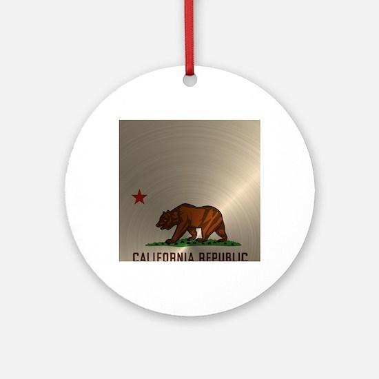 Gold California Republic Round Ornament