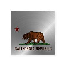 """Steel California Republic Square Sticker 3"""" x 3"""""""