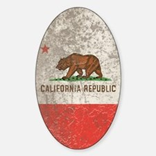 Grunge California Republic Sticker (Oval)