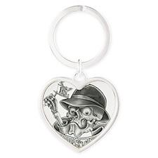 Skull Tattoo Machine Flash Heart Keychain