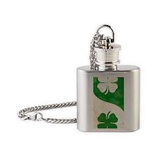 Irish Shamrock Yin Yang Flask Necklace